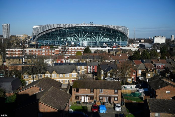 The huge stadium dominates the residential area north of London while overlooking the surrounding landscape