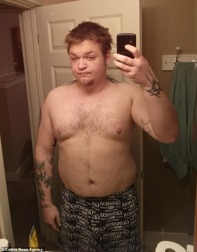 Father-of-one Neil James, 36, from Grand Rapids, Michigan, lost 140lbs (10 stone) in a year after being branded 'fat' online, and deciding to overhaul his diet and exercise regime for a healthier lifestyle -pictured at 322lbs (23 stone) at the beginning of last year