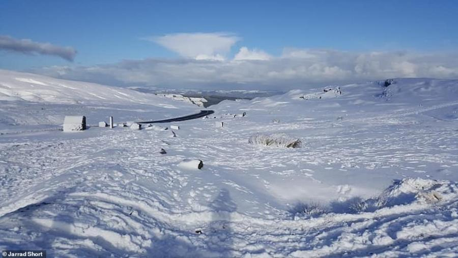 Snow on the Black Mountains in the Brecon Beacons in South Wales, pictured by Jarrad Short