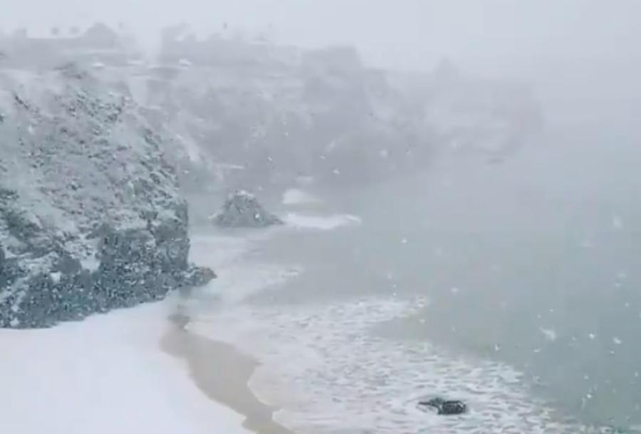Severe snowfall on the coast of Cornwall at Newquay today as the South West faces extreme conditions