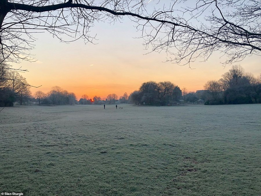 Sian Sturdis photographed frosty ground at sunrise this morning in Arnos Park, North London