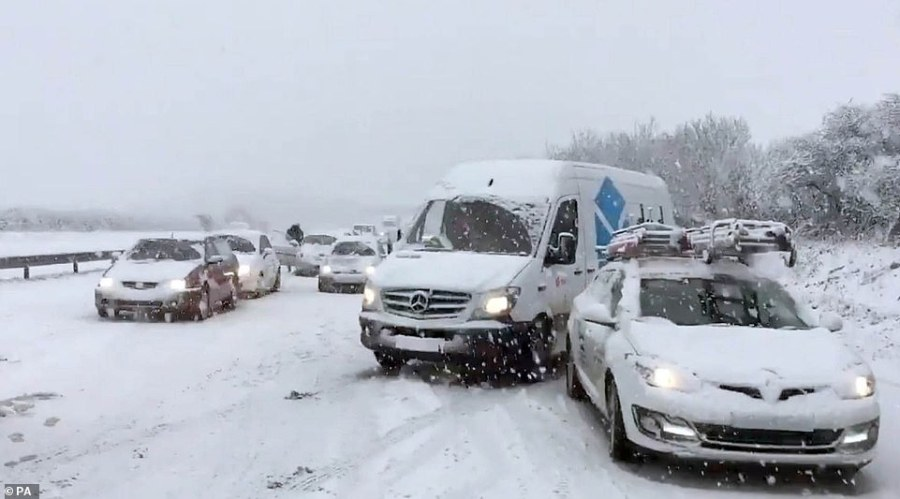 Cars stranded in the snow on the A30 near Newquay today. Cornwall Airport, which is near Newquay, is currently closed due to snow, with the airport hoping to reopen by 5pm, according to an update posted on Twitter