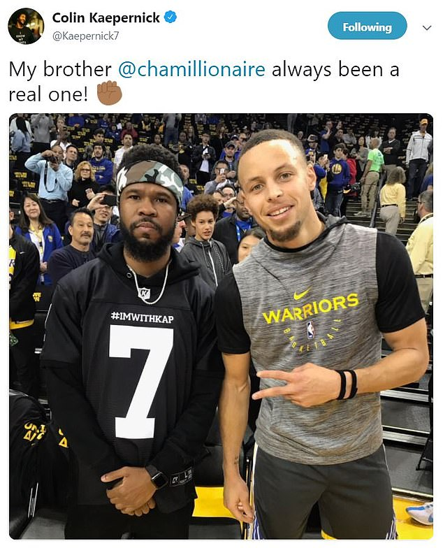 Several NBA players have also weighed in recently. LeBron James and Kevin Durant both offered their support for Colin Kaepernick by wearing his limited edition #ImWithKap jerseys on Saturday, as did Chamillionaire, who was seen wearing his courtside at the Lakers-Warriors game in Oakland