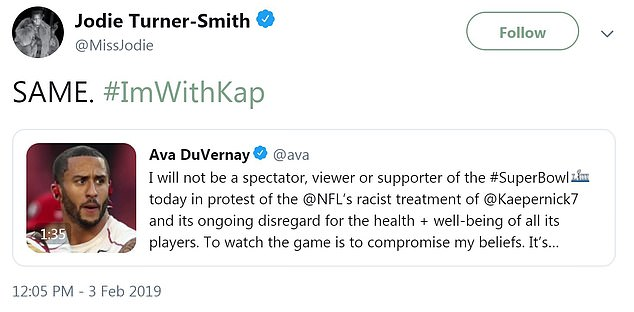 Some, like director Ava DuVernay and actress Jodie Turner-Smith, went so far as to say they would boycott Super Bowl LIII entirely to protest the league's treatment of Kaeperenick