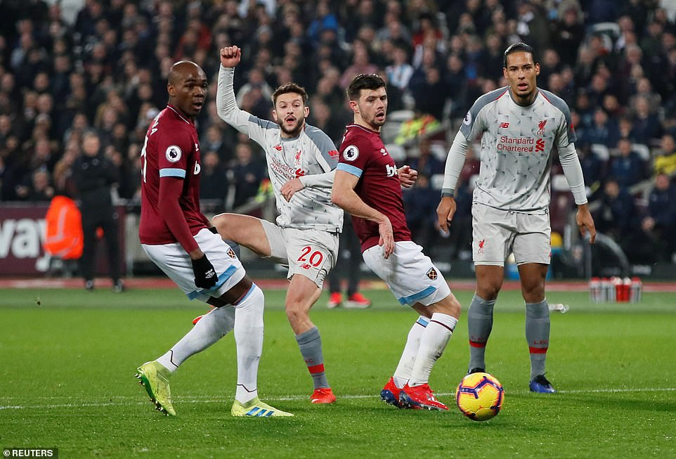 Adam Lallana was starting his first league match since October for the Reds and he hit a tame effort outside the box