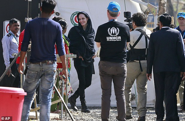Visiting Bangladesh:Jolie is in Bangladesh to assess the humanitarian needs of the one million Rohingya in camps around the town of Cox's Bazar