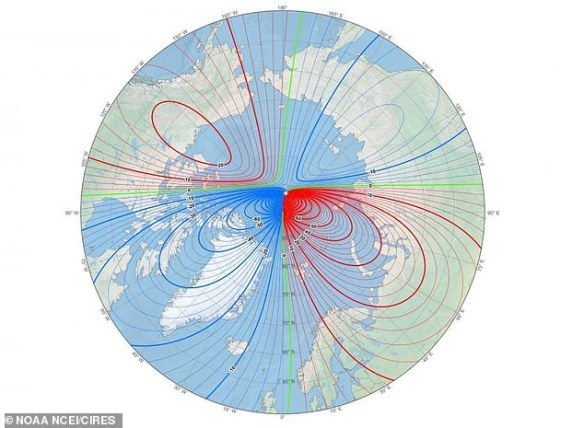 The magnetic north pole is located at the white star and the individual lines in red and blue show the magentic field lines of Earth. These are used in navigation systems by boats and for airport navigators as well as in some consumer electronics