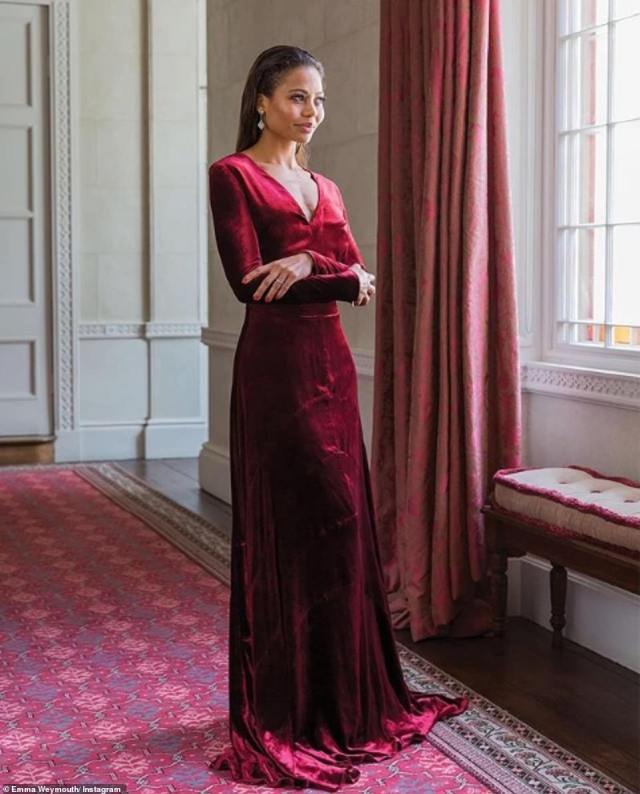 The Viscountess of Weymouth shares regular glimpses at her lavish life as the wife to the heir to Longleat House in Wiltshire on her Instagram account. The model, who has walked for D&G, is seen dressed in a red velvet gown as she poses in her grand hallway overlooking the park, which is decorated with velvet curtains, a coordinated window seat and a Persian-style rug