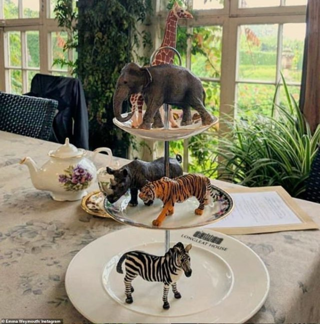 Emma also shares frequent pictures as she enjoys time in Longleat's Orangery, hosting friends for afternoon tea complete with personalised animal-inspired tableware and dainty porcelain teasets