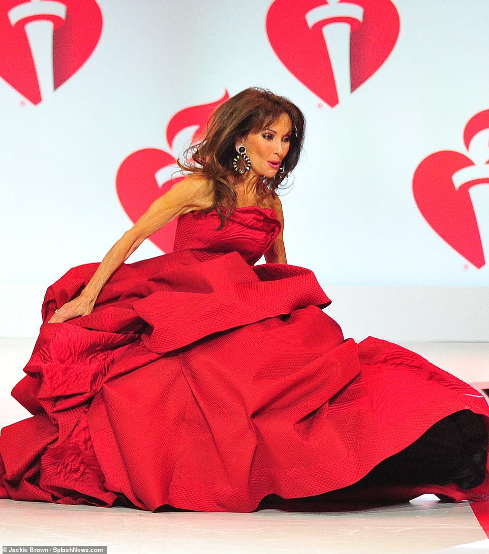 Taking a tumble! All My Children actress Susan Lucci stepped on her dress and had a fall during her catwalk turn