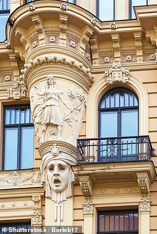 Decoration on a building in the Art Nouveau district