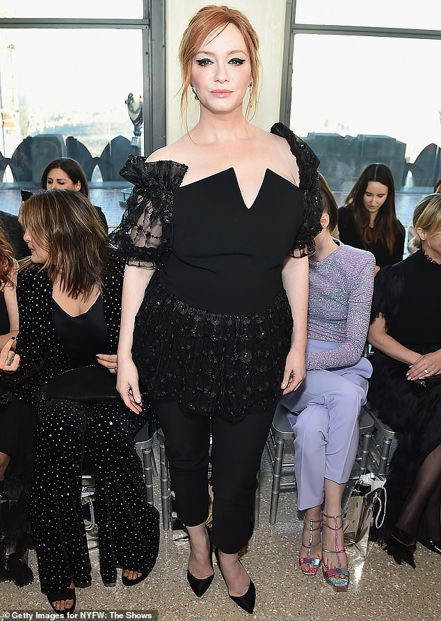 Mover and shaker: Christina, who is famous for acting on Mad Men and reunited with Matthew Weiner for the Amazon mini-series The Romanoffs, went for a black ensemble as well