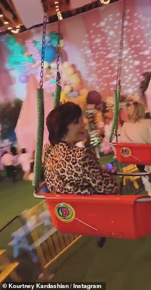 Point of view: take a ride with his daughter Penelope and mother Kris, Kourtney shared a first-person view of the carnival tour
