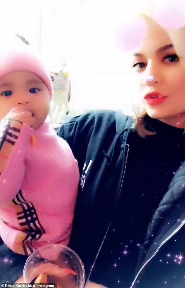 Hot mama: Khloe shared even more from the party, posting selfie videos with her daughter True