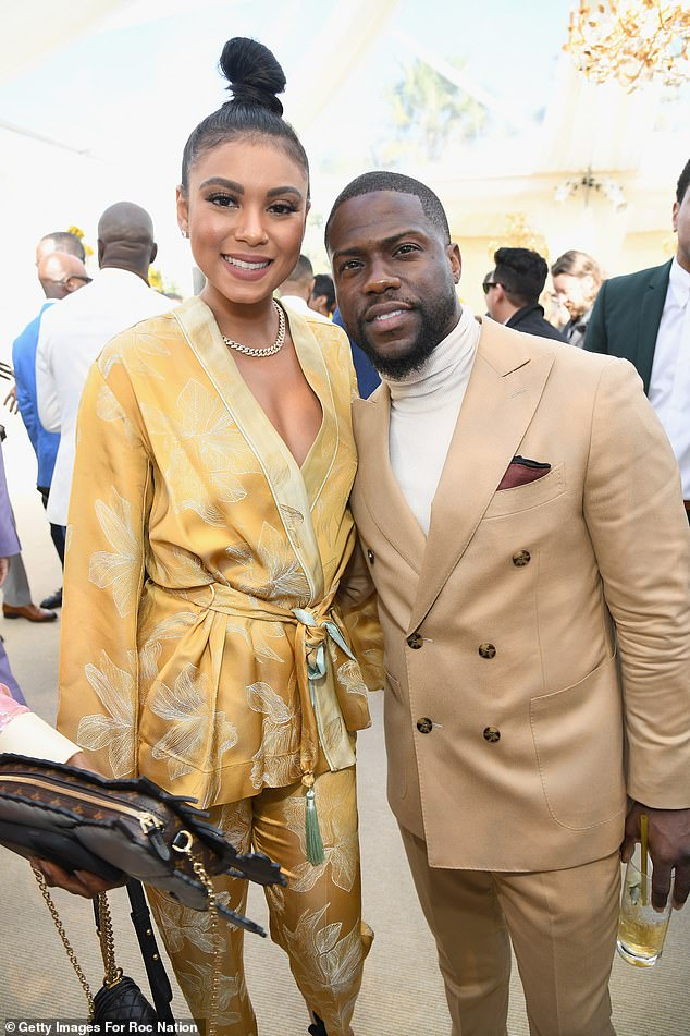 Aglow:Kevin, who jazzed up his look with a burgundy pocket square, attended the event on the arm of his second wife Eniko Parrish, with whom he shares his son Kenzo
