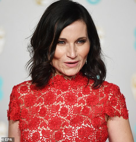 Red got: Kate Fleetwood went for a semi-sheer crotchet number for the dazzling evening
