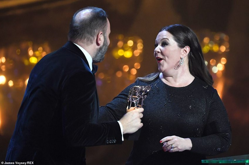 Well done! Melissa handed the BAFTA toYorgos Lanthimos for Outstanding British Film The Favourite