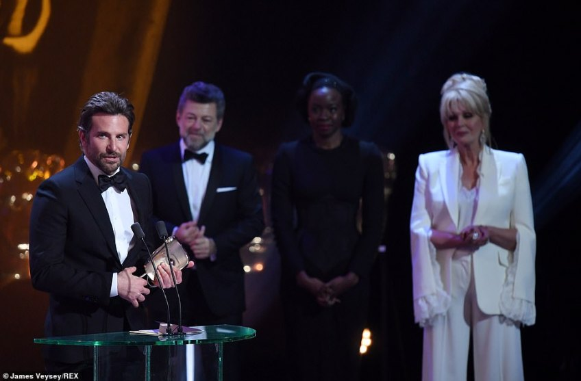 Well done: Bradley thanked his two leading ladies, Lady Gaga and Irina Shayk as his film A Star Is Born picked up the gong for Best Original Music
