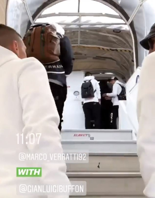 Verratti and Buffon were filmed making their way up the steps to board PSG's aircraft