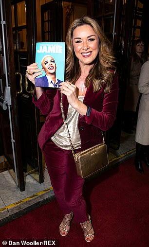 Happy: The soap actresses couldn't hide their delight at being at the West End show