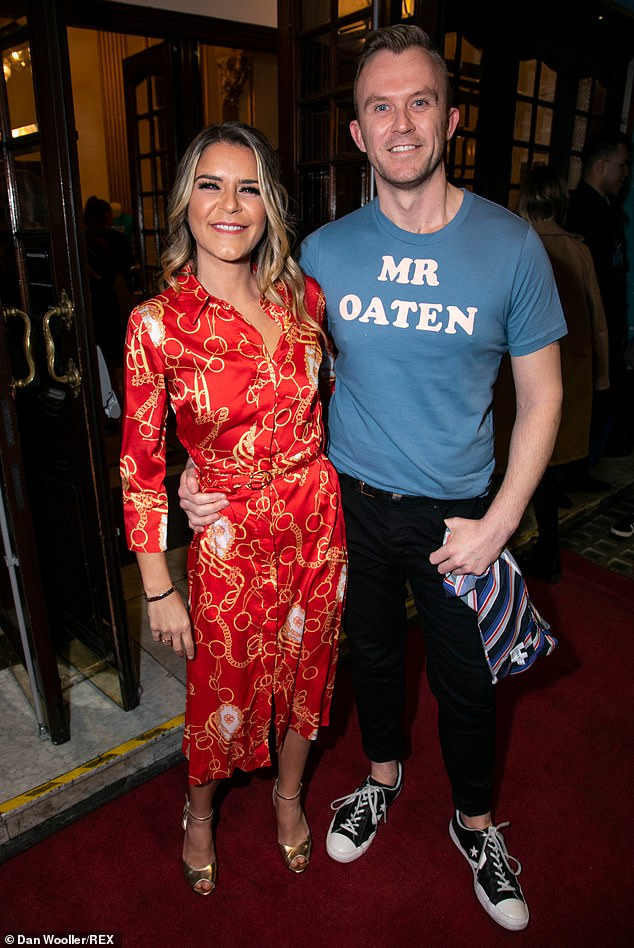 Statement?Gemma was joined at the opening night by her best friend Joff Powell, who turned heads by wearing a T-Shirt with the words: 'Mr Oaten' splashed across his chest