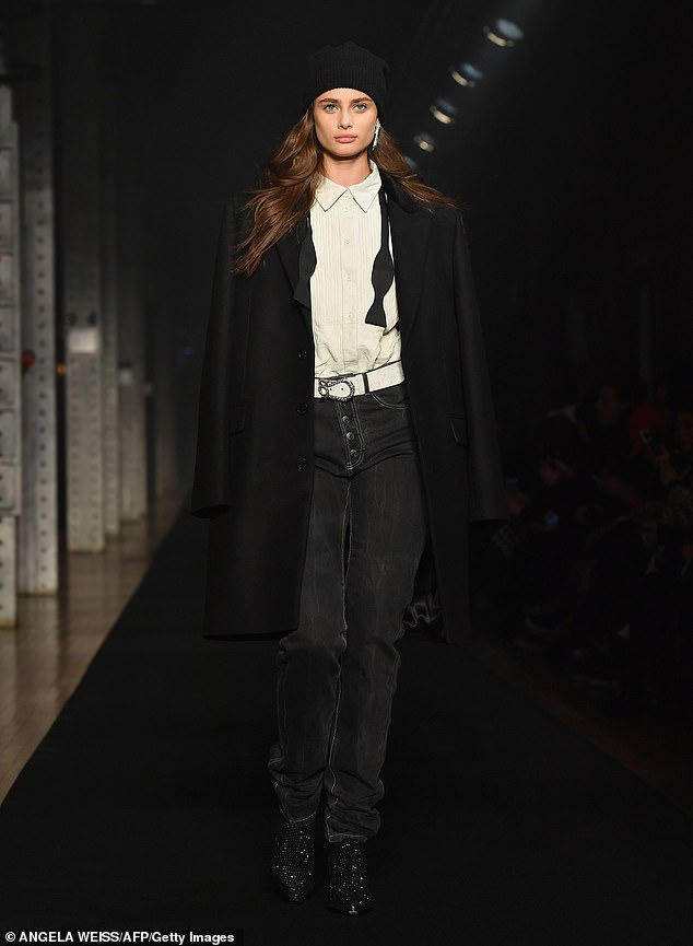 Catwalker: The Illinois-born beauty - turning 23 next month - rocked the runway in a tuxedo-inspired outfit