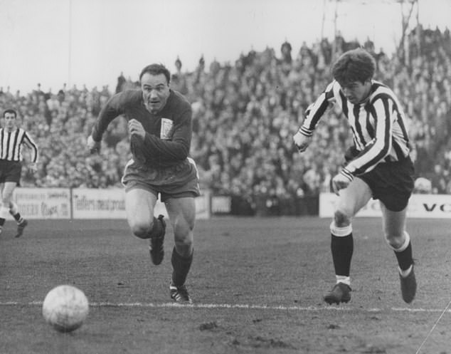 George Cohen, here in action for Fulham (left), was England's right back in 1966