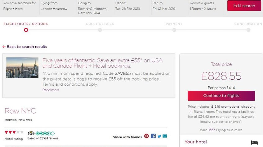 Virgin Atlantic also offers incredible flights plus hotel deals, as MailOnline Travel shows here