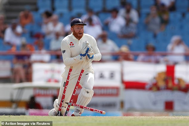 Jonny Bairstow removes the bails and the stumps as Shimron Hetmyer is run out after lunch