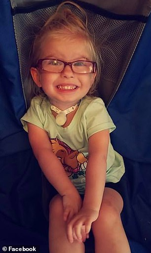 It is a condition in which her windpipe was blocked and voice box was fused while she was in utero, leaving her unable to speak. Pictured: Zoey