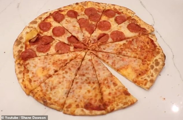 Another unappealing picture shows a half-cheese, half-pepperoni pizza