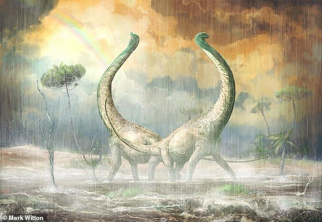 Just in time for Valentine's Day, a giant dinosaur with heart-shaped tail bones was introduced to the world. Scientists believe that the Titanosaur will throw a valuable light on the evolution of dinosaurs in Africa, where the partial skeleton was found (impression of the artist).