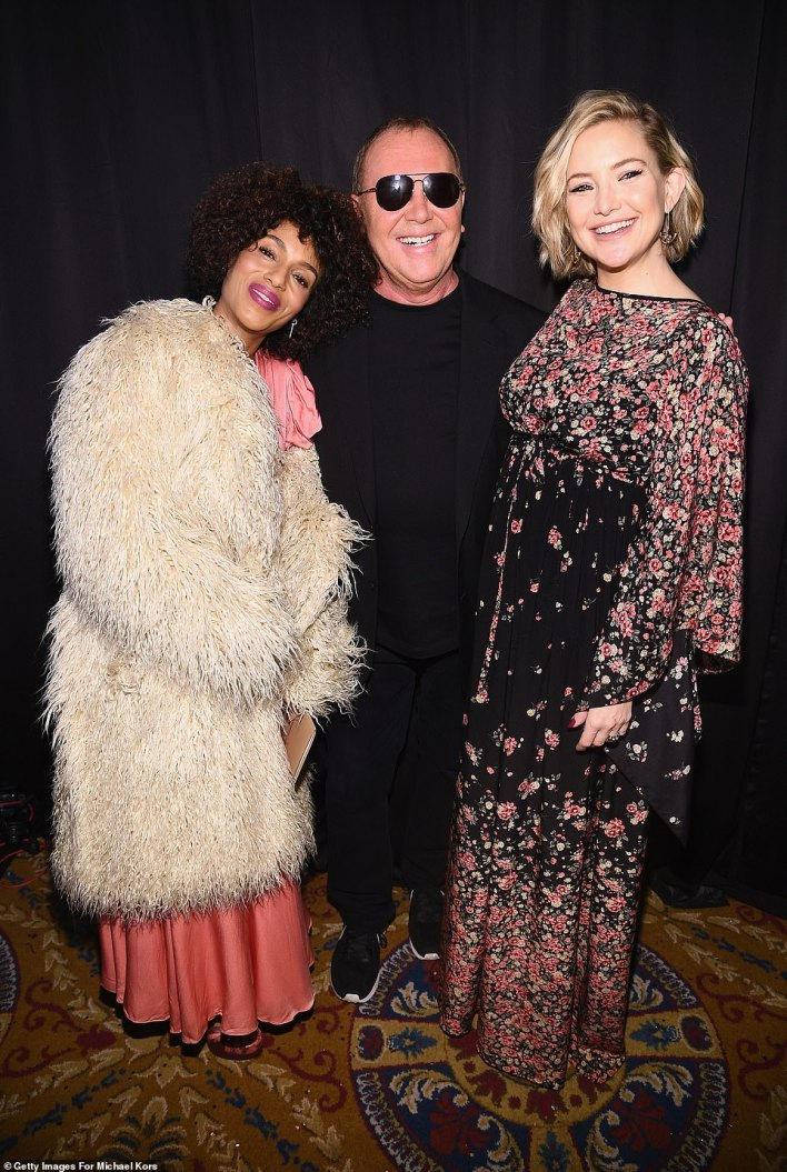 Man with the plan: Kerry and Kate flanked designer Michael