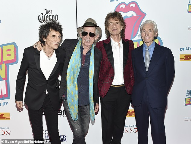 """Iconic: The Rolling Stones Rocker, said he started the year 2019 with a health kick after December became a """"long party"""" on his 75th birthday and 35th wedding anniversary (above with his bandmates Ronnie Wood, Mick Jagger and Charlie Watts)"""