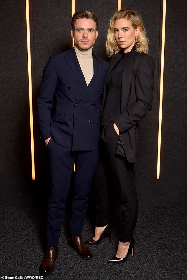 Stylish:Richard Madden, 32,  cosied up to Vanessa Kirby, 30, whilst posing for pictures at the Hugo Boss Fall Winter 2019 show at New York Fashion Week, on Wednesday