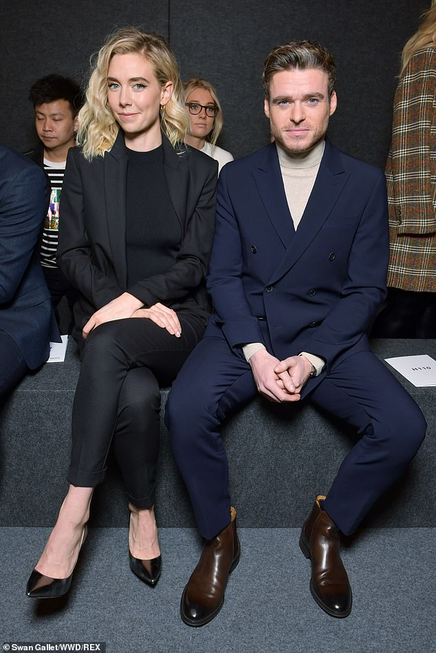 Getting about:The stylish pair appeared to spend the afternoon show-hopping, as they were also photographed sitting front row at the Hugo Boss show