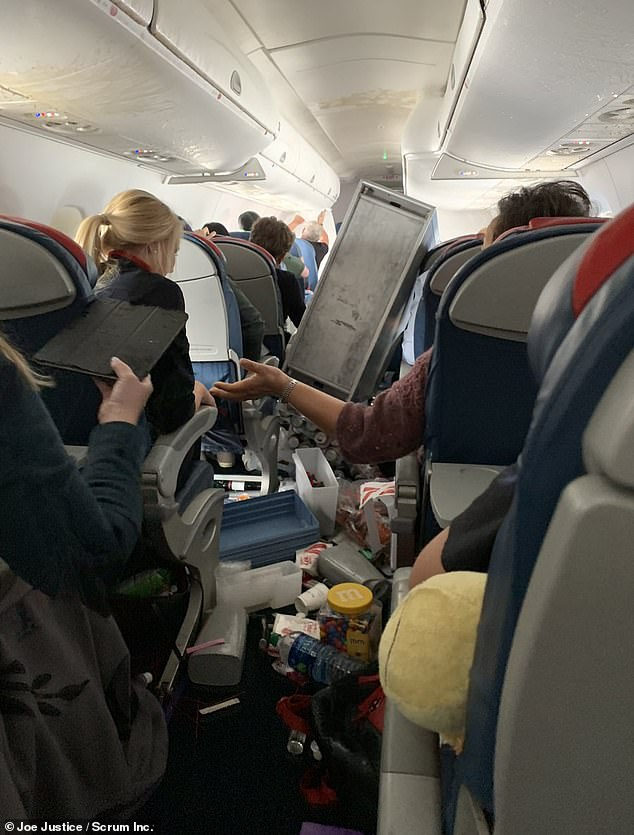 Delta Air Lines flight 5763 experienced severe turbulence Wednesday. This photo shows the chaos on board after the flight made an emergency landing