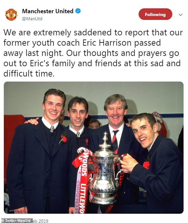 United paid tribute to Harrison and posted a picture of Beckham and the Neville brothers with Harrison after United won the FA Cup in 1996