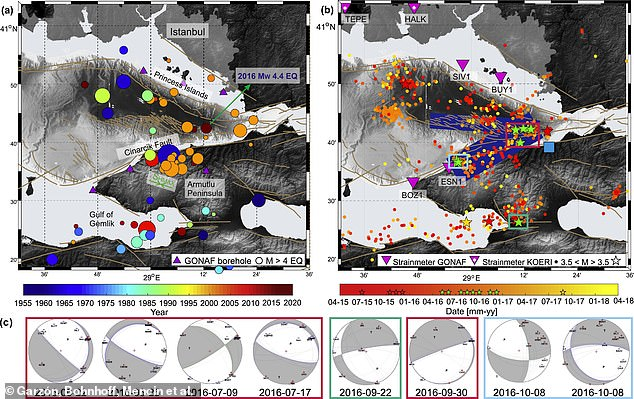 The figure on the left shows the distribution of earthquakes since 1959 and the right image shows the activity between May 2015 and April 2018. Earthquakes are common in the region because it is situated on a highly active fault line that has a history of producing powerful tremors