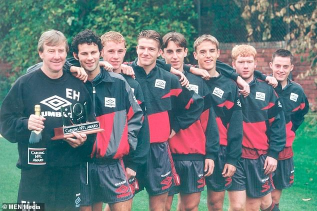 Eric Harrison, the Manchester United coach who helped nurture Manchester United's Class of 92, has died at the age of 81. He is pictured with (left to right) Ryan Giggs, Nicky Butt, David Beckham, Gary Neville, Phil Neville, Paul Scholes and Terry Cooke