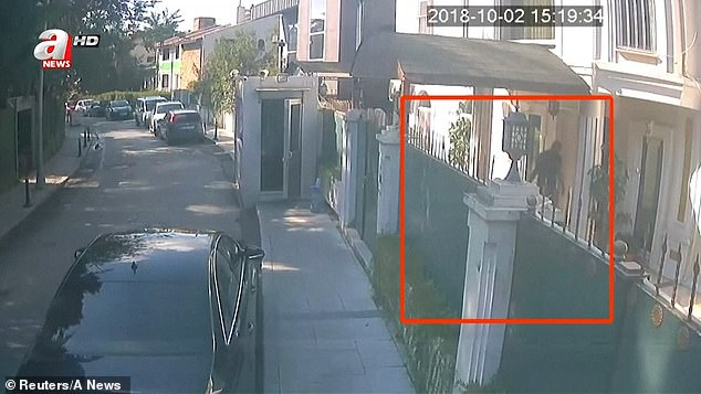 On the pictures are three men with five suitcases and two big black bags in the house of the Saudi consul general in Istanbul, Turkey