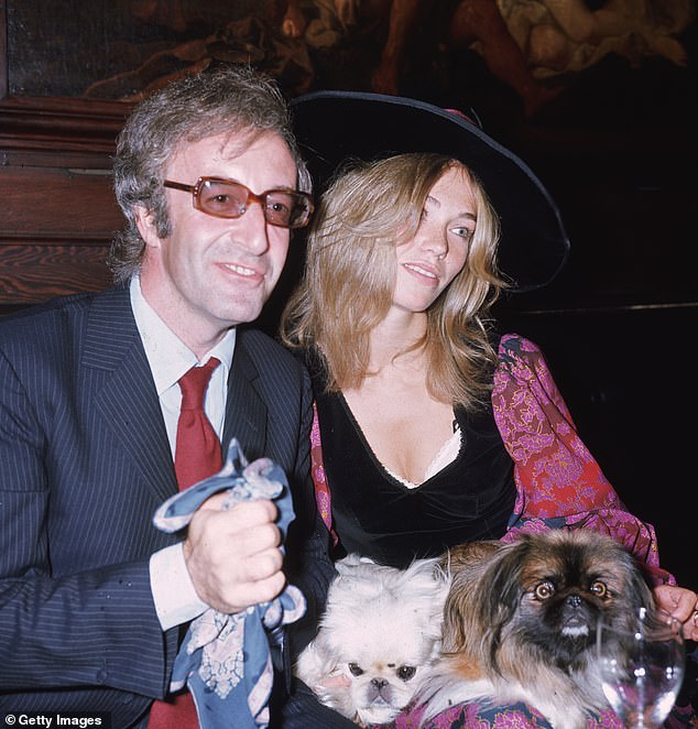 The British comedian and actor Peter Sellers with his third wife, Miranda Quarry, Lord Mancroft's stepdaughter, Cunard vice-president, at the wedding reception at the Tramp & # 39; in 1970