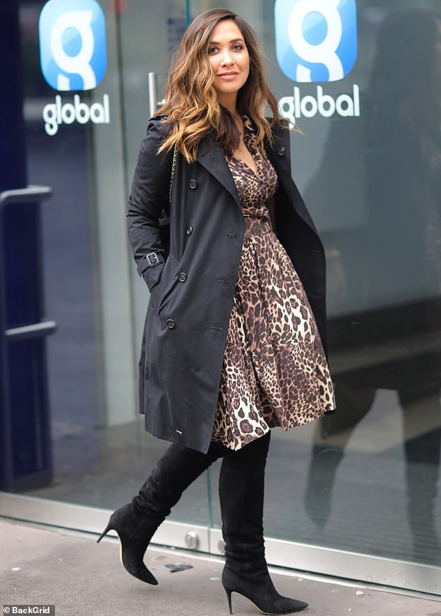 60f500c4544c Blossoming: Myleene Klass showed off her pregnancy glow as she headed to Global  Radio in