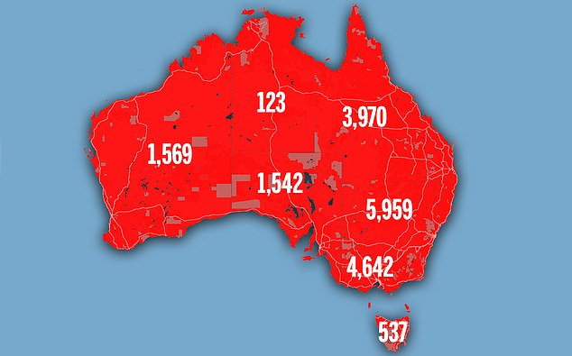 Tasmania was named as the state with the highest rate of people with increasing cholestral and obesity, the analysis found (in the photo the number of deaths caused by cardiac arrest by the state in 2017)