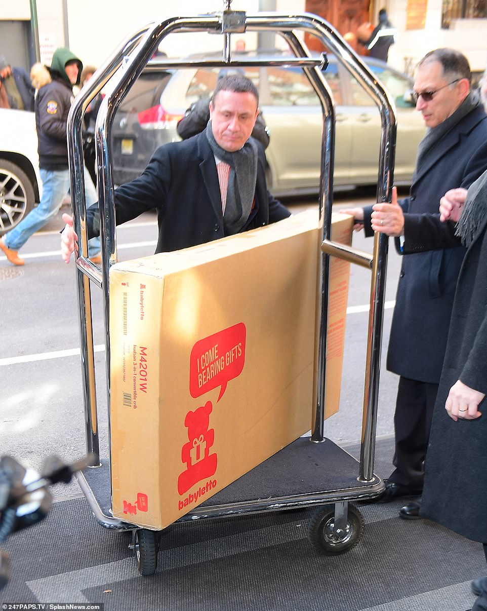 Step aside! As well as the flowers, staff at the hotel were also seen wheeling in a large box housing a $379 travel crib, which may well have been a gift for the duchess, or a prop for the party