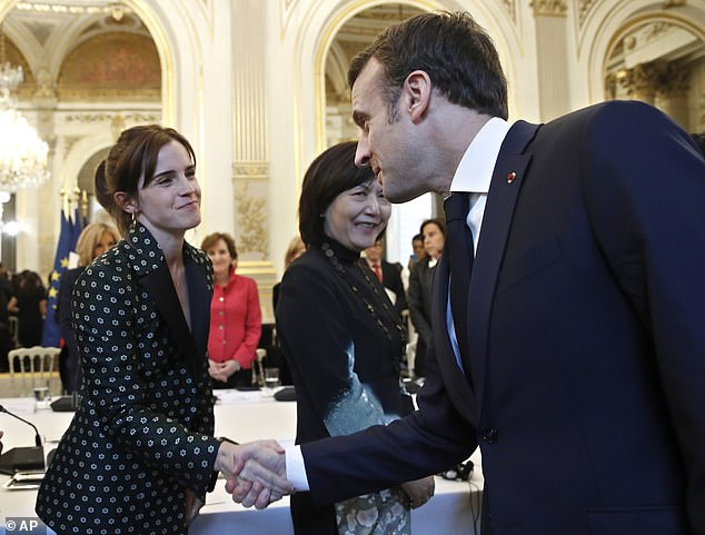 Emma Watson at the first meeting of the G7 Advisory Board (Group of Seven) for Gender Equality with French President Emmanuel Macron. She also spoke out against climate change in the past