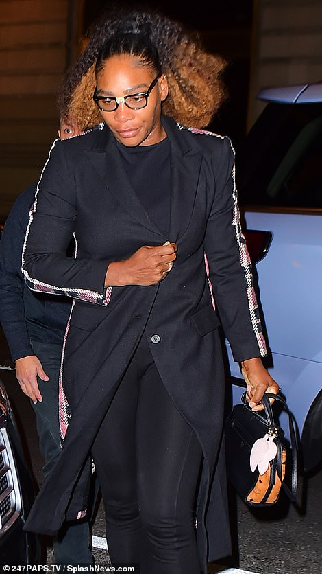 Gal pals! The pregnant royal was joined by tennis pro and mother-of-one Serena Williams, who looked trendy in her low-key outfit of black jeans, a black sweater, and a long black jacket with fun pink plaid detailing on the sleeves and sides