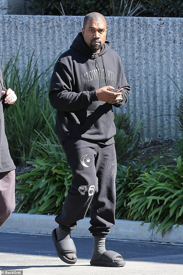 Kanye on the go: Kanye West has also been spotted outside his office in Calabasas, California on Tuesday afternoon