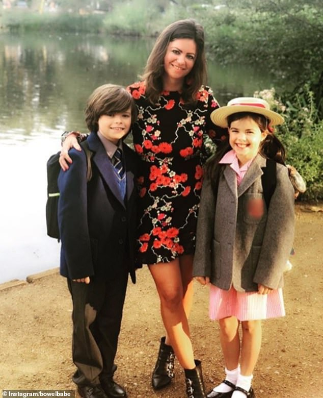 Hugo James, 11, with his sister Eloise, 8, and mother Deborah James, also known as Bowel Babe