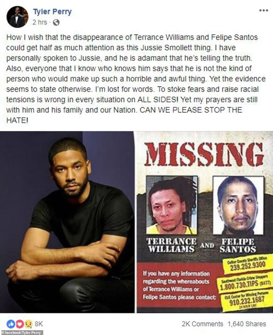 Actor and comedian Tyler Perry penned a lengthy Facebook post saying he had personally spoken to Smollett who insisted he was telling the truth but later added that the evidence seemed to tell a different story